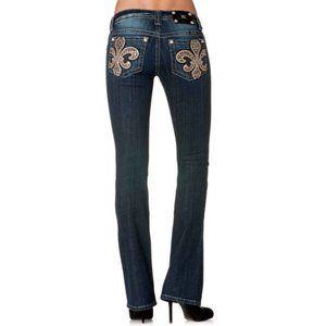 MISS ME Fleur de Lis Mid Rise Bootcut Jeans Bling
